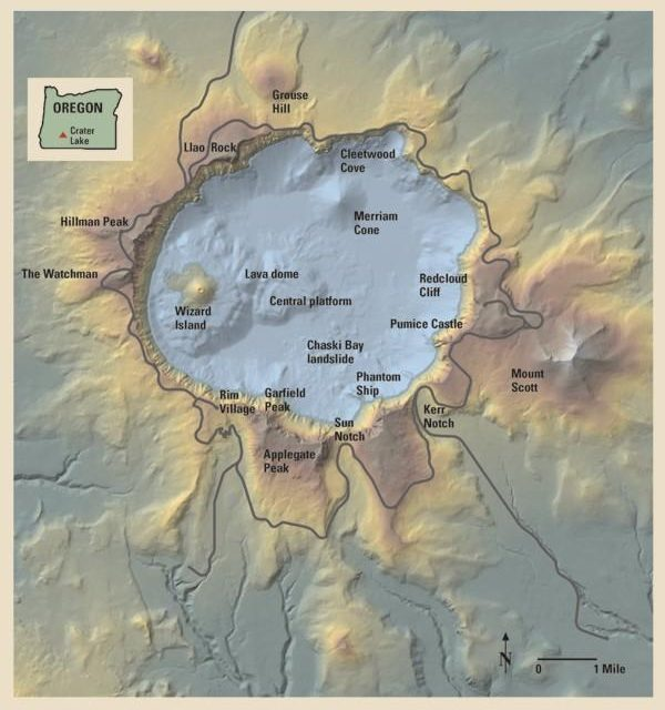 Relief Map of Crater Lake National Park