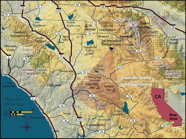 Map of Agua Tibia Wilderness