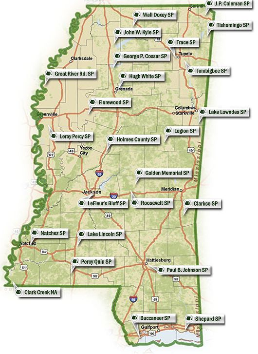 Mississippi State Parks Map
