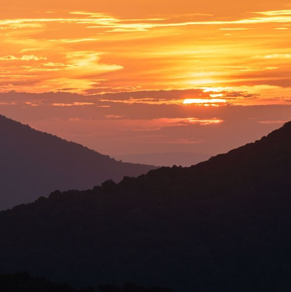 Shenandoah National Park, sunrise on Skyline Drive