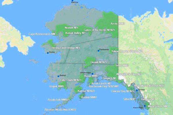 Alaska Parks Map courtesy of Google Maps