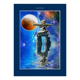 Inukshuk & Galaxy Moon Fantasy Art  Poster