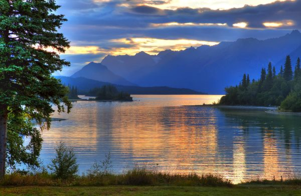 Sunrise On Lake Clark In Lake Clark National Park, Southcentral, Alaska